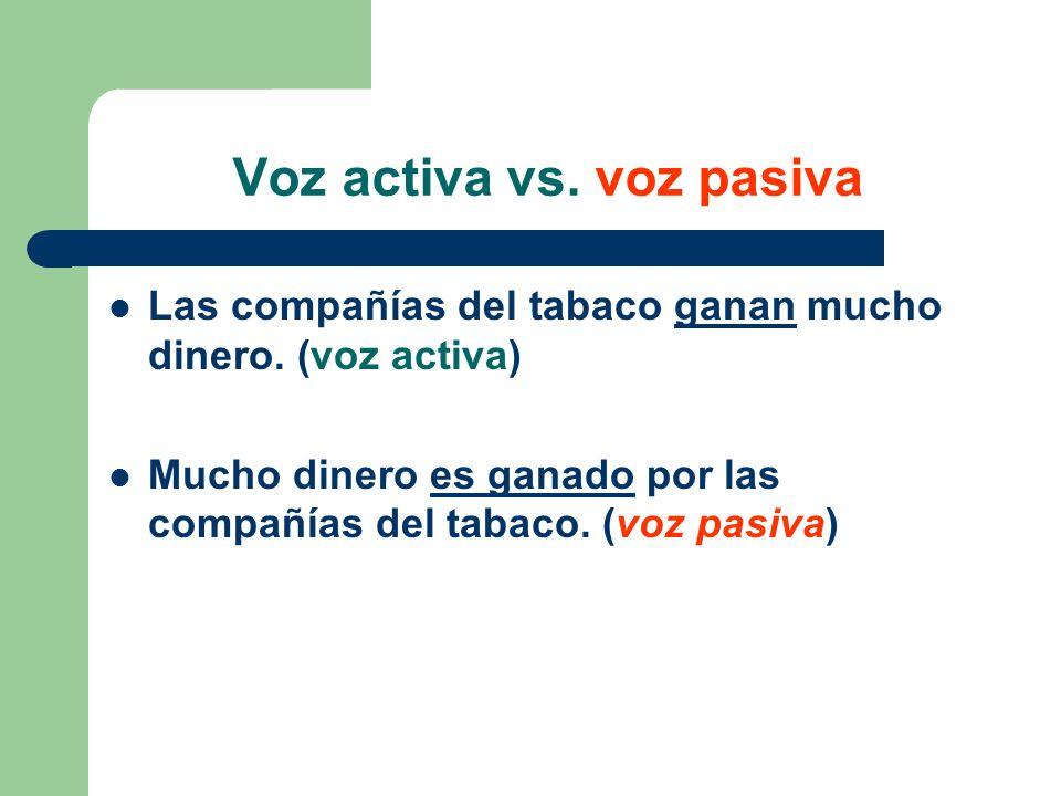 Voz activa vs. voz pasiva