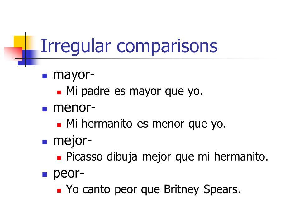 Irregular comparisons