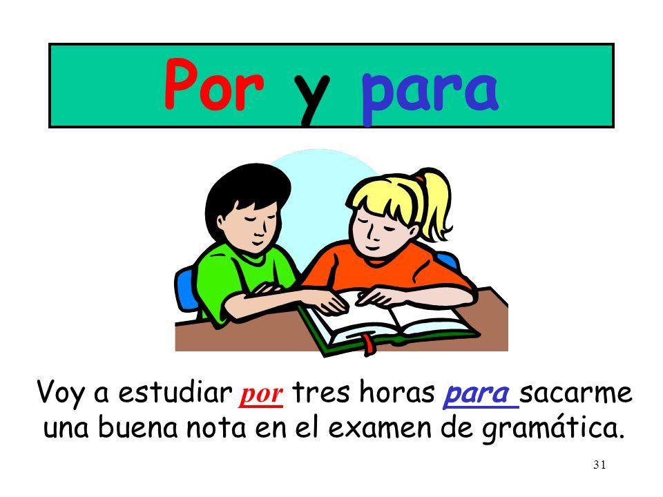 Por y para Voy a estudiar por tres horas para sacarme una buena nota en el examen de gramática.
