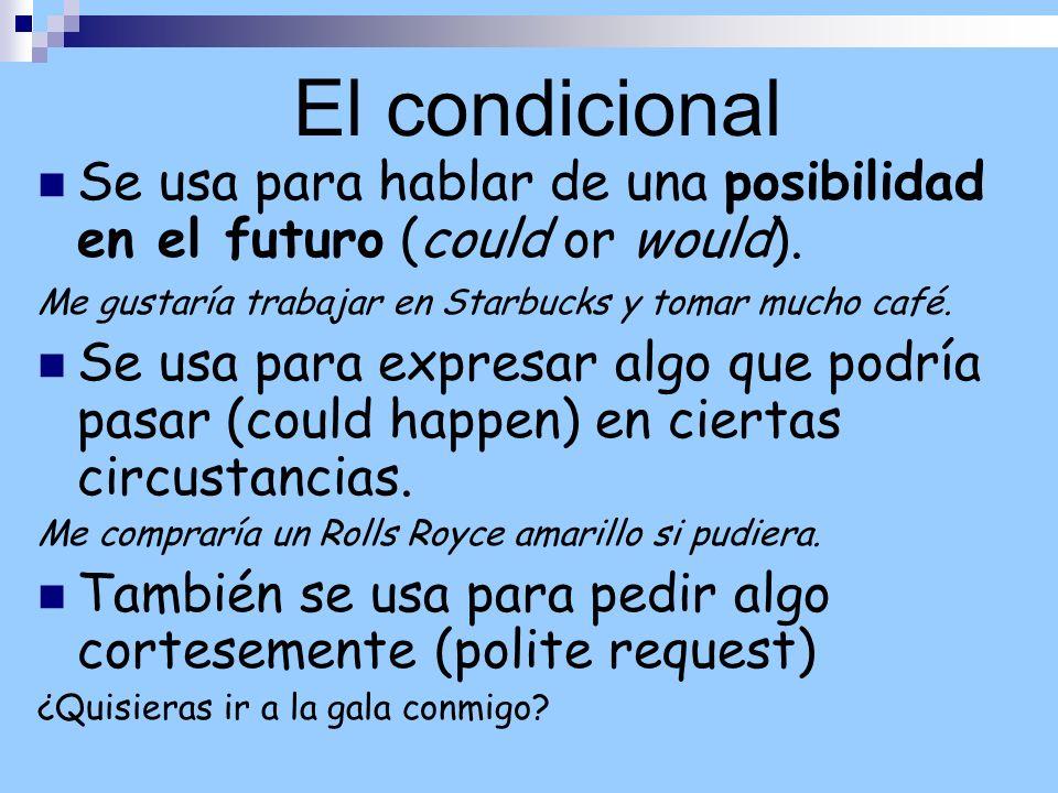 El condicionalSe usa para hablar de una posibilidad en el futuro (could or would). Me gustaría trabajar en Starbucks y tomar mucho café.