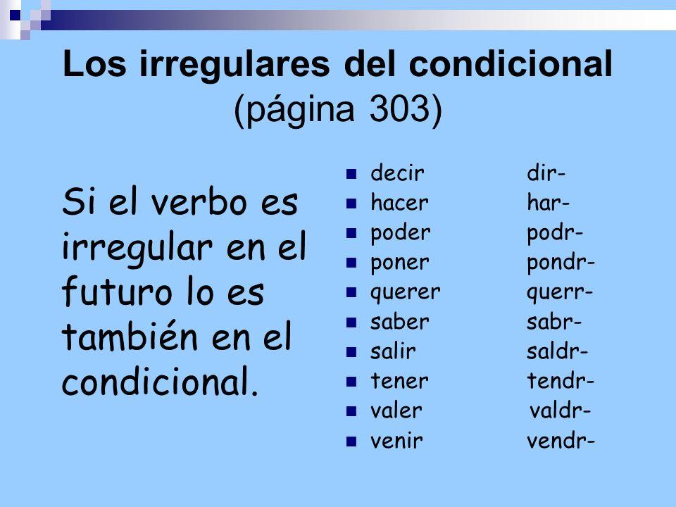 Los irregulares del condicional (página 303)