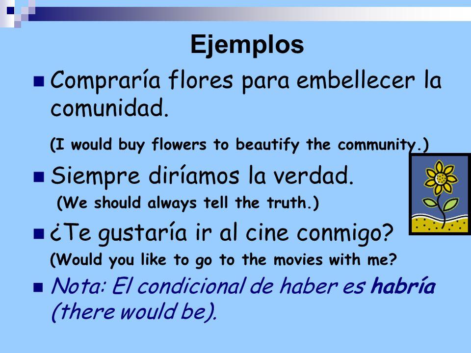 Ejemplos Compraría flores para embellecer la comunidad.