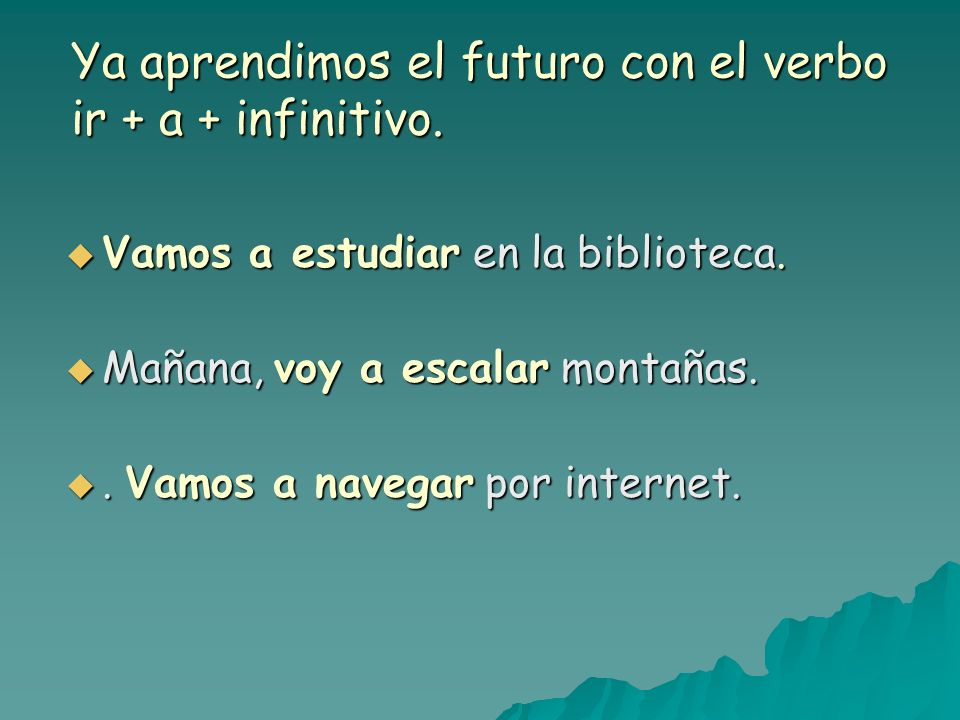 Ya aprendimos el futuro con el verbo ir + a + infinitivo.