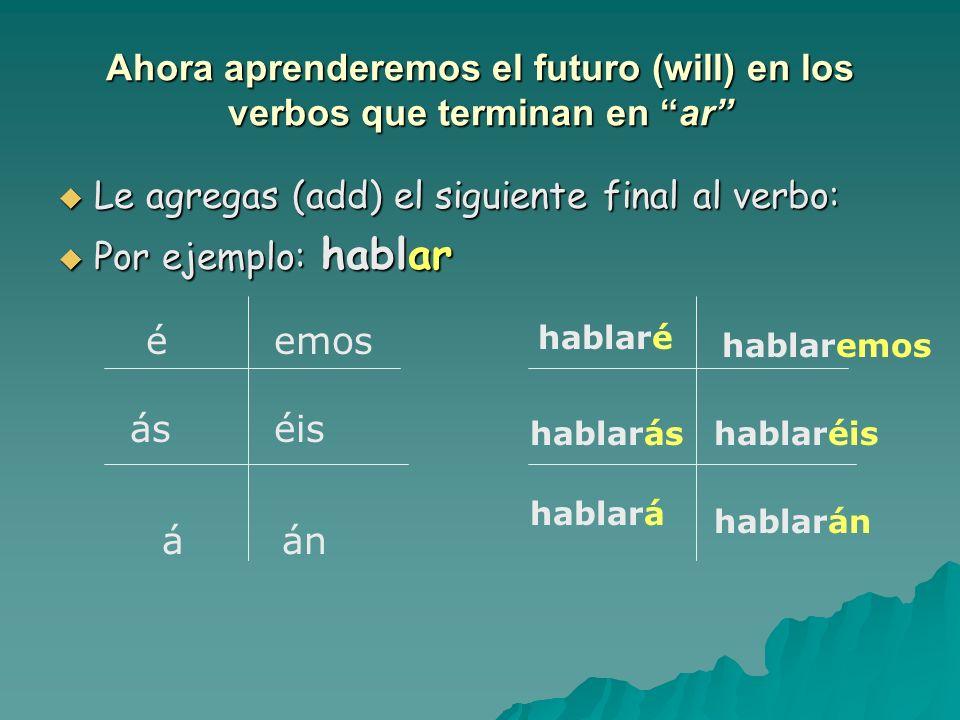 Ahora aprenderemos el futuro (will) en los verbos que terminan en ar