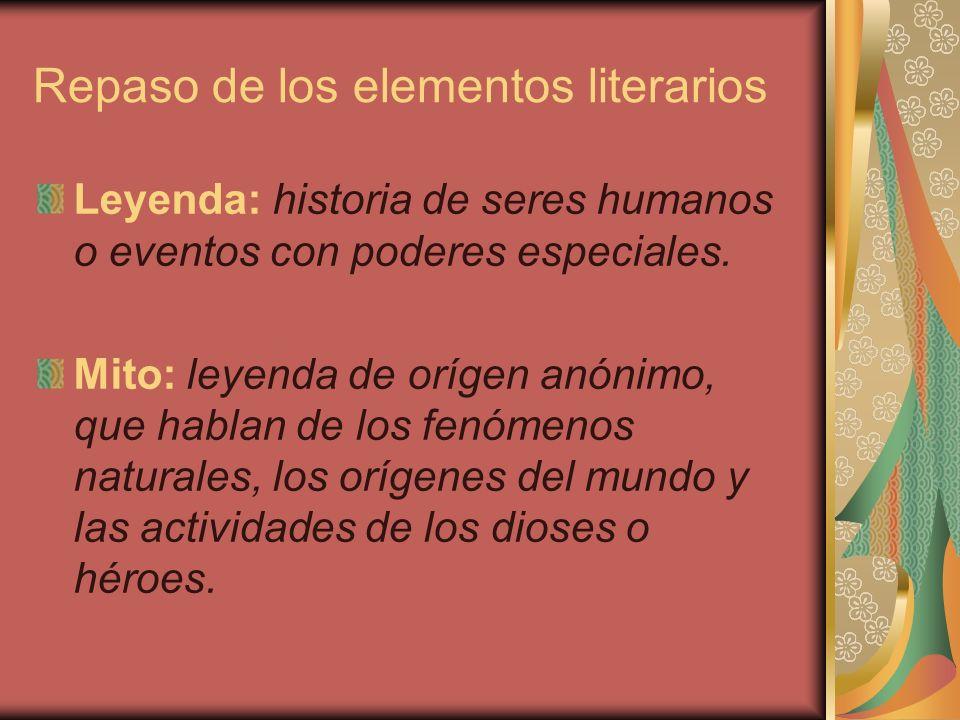 Repaso de los elementos literarios