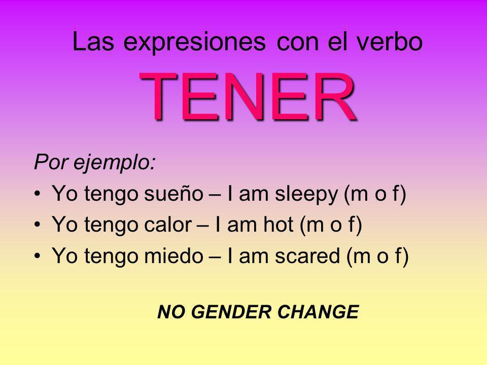 Las expresiones con el verbo TENER