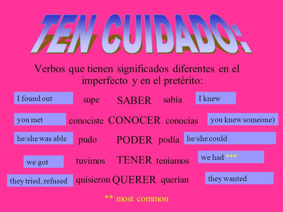 TEN CUIDADO: Verbos que tienen significados diferentes en el imperfecto y en el pretérito: I found out.