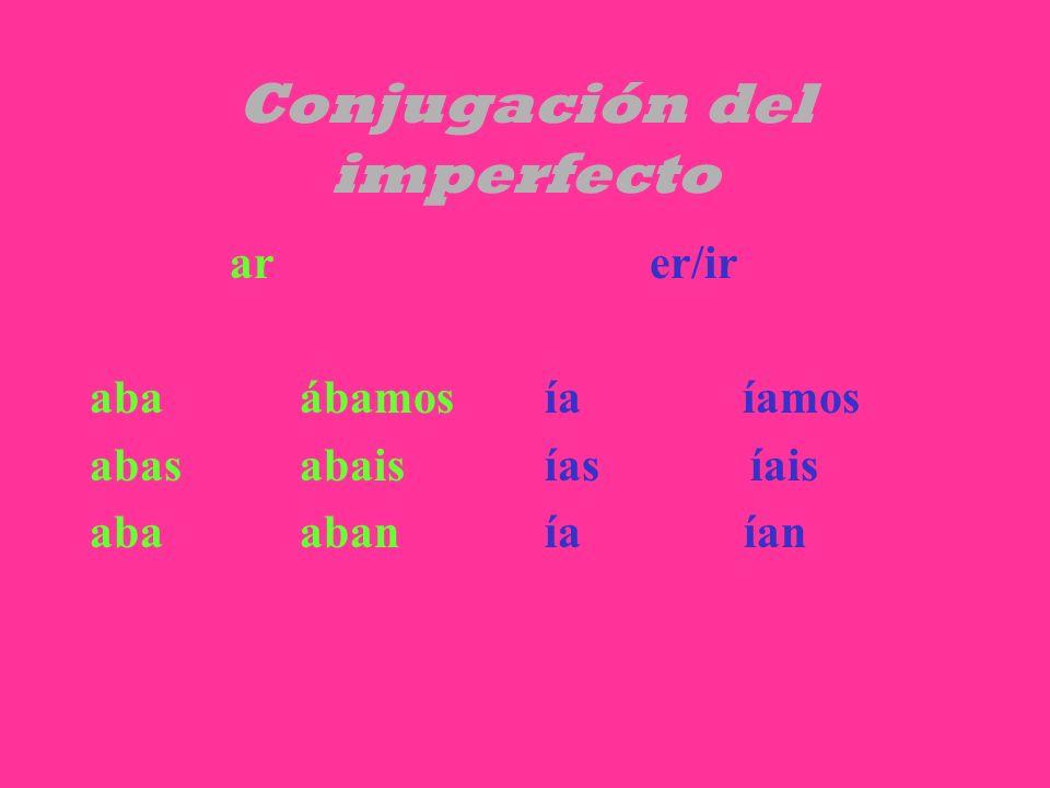 Conjugación del imperfecto