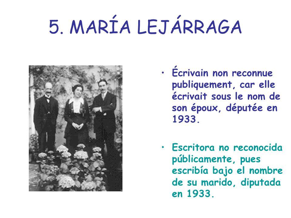 5. MARÍA LEJÁRRAGA Écrivain non reconnue publiquement, car elle écrivait sous le nom de son époux, députée en 1933.