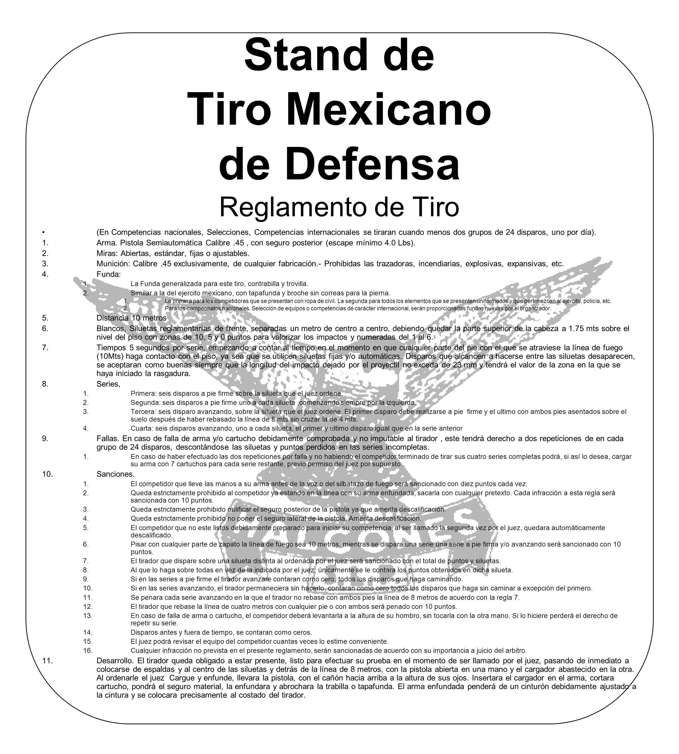 Stand de Tiro Mexicano de Defensa Reglamento de Tiro
