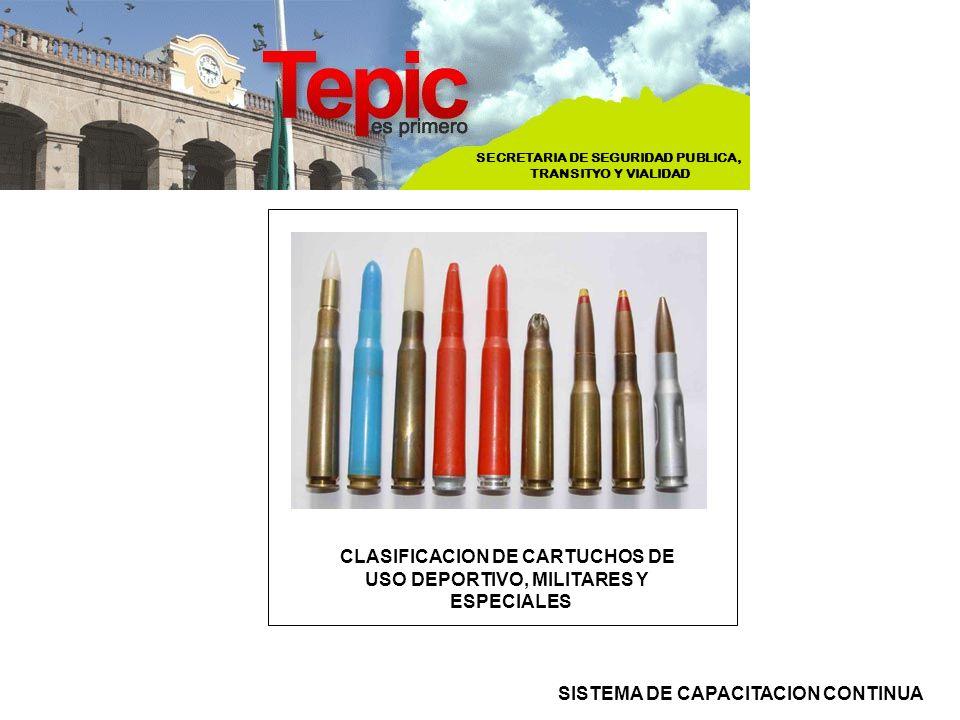 CLASIFICACION DE CARTUCHOS DE USO DEPORTIVO, MILITARES Y ESPECIALES