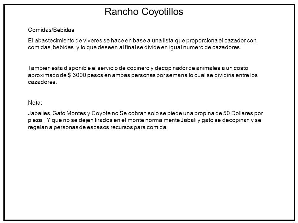 Rancho Coyotillos Comidas/Bebidas