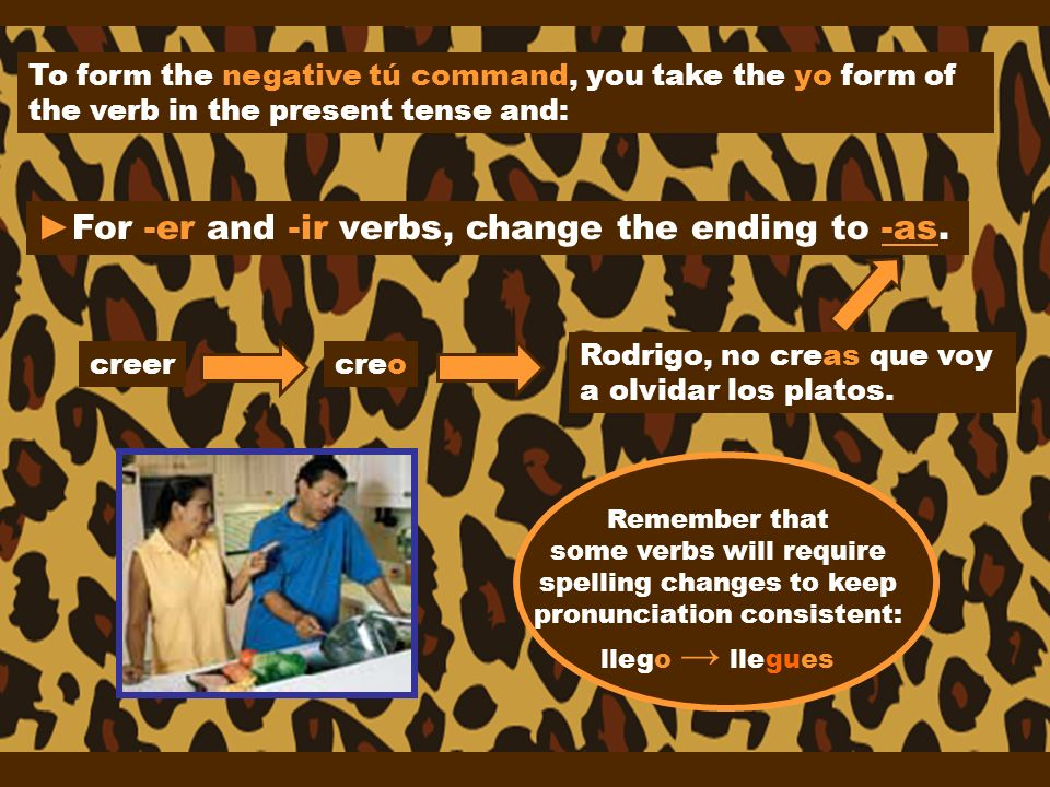 ►For -er and -ir verbs, change the ending to -as.