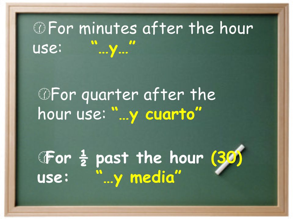 For minutes after the hour use: …y…