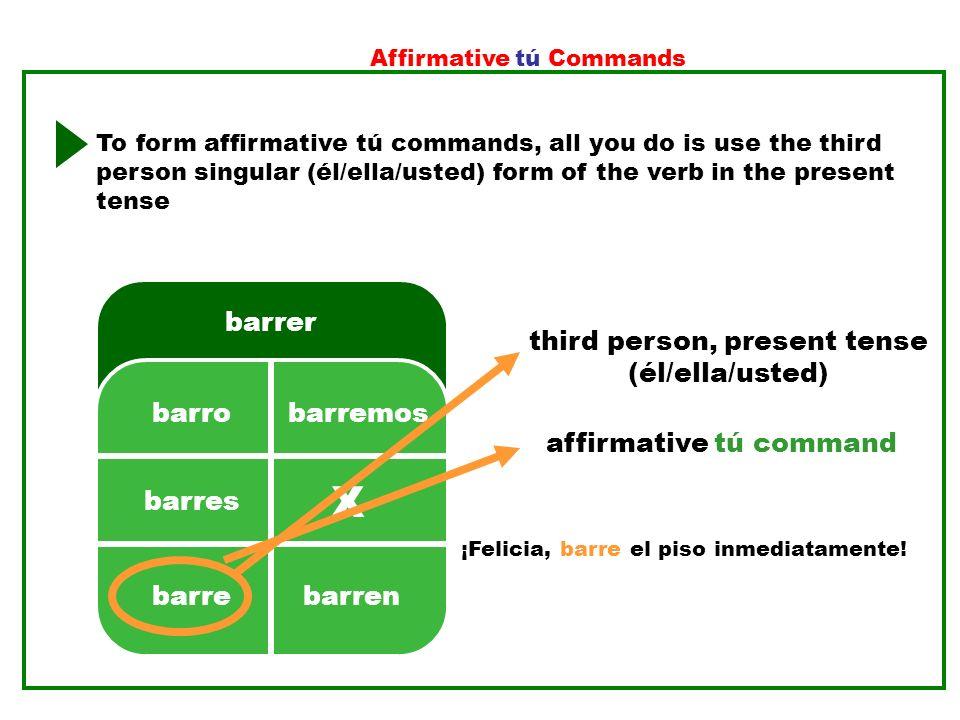 X barrer 2. 3. 5. 4. 1. third person, present tense (él/ella/usted)
