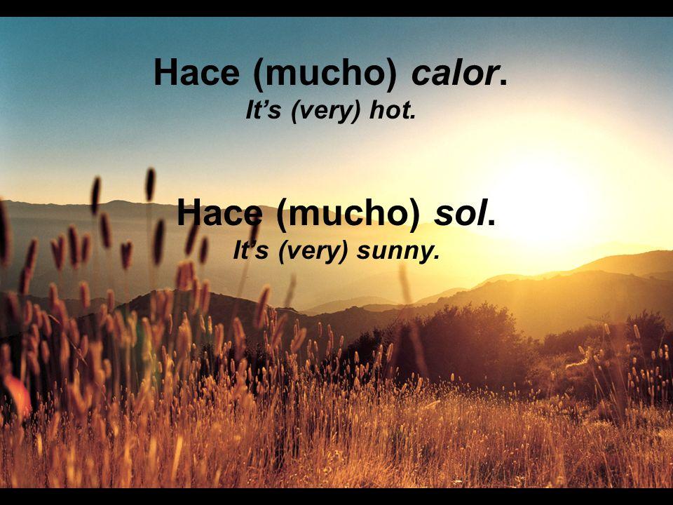 Hace (mucho) calor. Hace (mucho) sol.