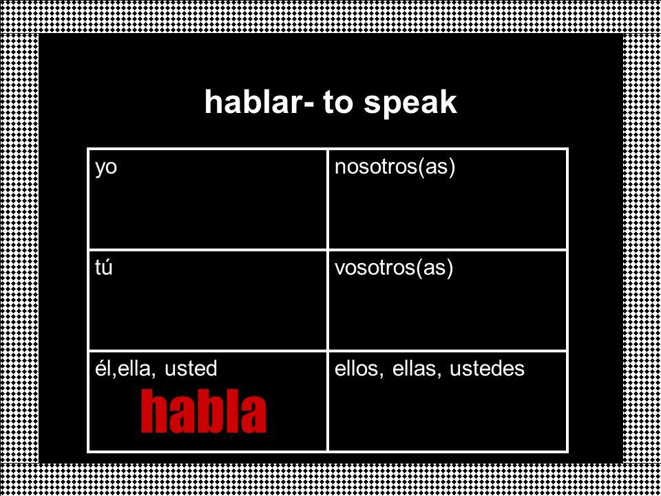 habla hablar- to speak yo nosotros(as) tú vosotros(as) él,ella, usted