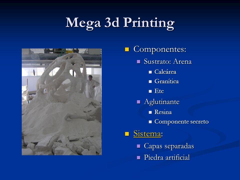 Mega 3d Printing Componentes: Sistema: Sustrato: Arena Aglutinante