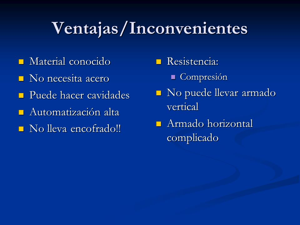 Ventajas/Inconvenientes