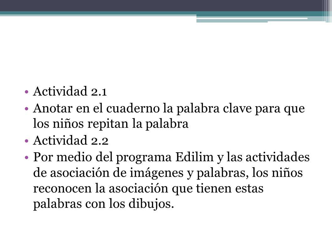 Actividad 2.1Anotar en el cuaderno la palabra clave para que los niños repitan la palabra. Actividad 2.2.