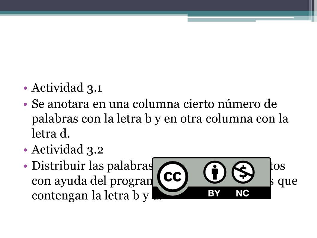 Actividad 3.1Se anotara en una columna cierto número de palabras con la letra b y en otra columna con la letra d.