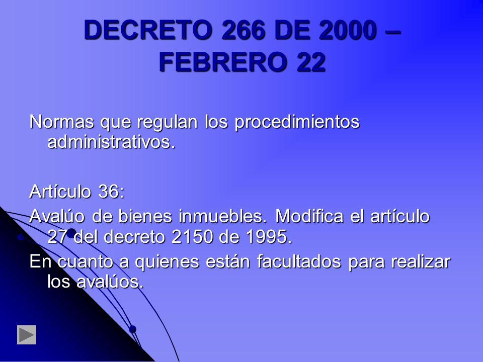 DECRETO 266 DE 2000 – FEBRERO 22 Normas que regulan los procedimientos administrativos. Artículo 36: