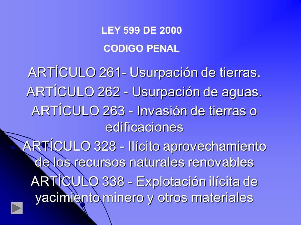 ARTÍCULO 261- Usurpación de tierras.