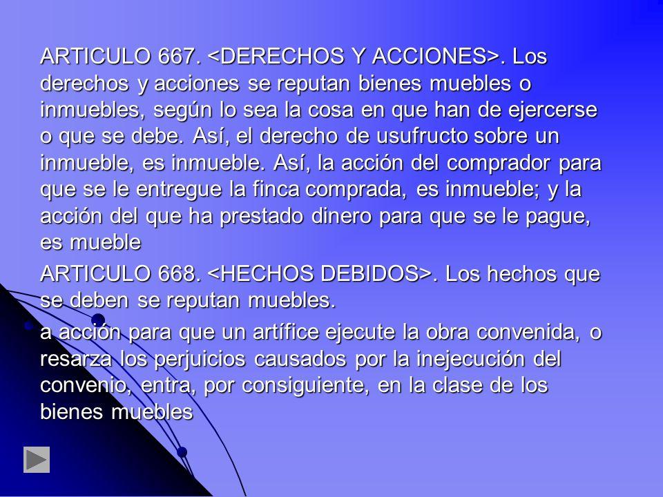 ARTICULO 667. <DERECHOS Y ACCIONES>