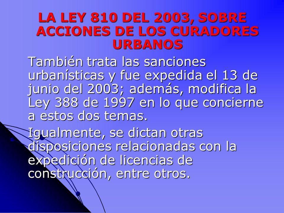 LA LEY 810 DEL 2003, SOBRE ACCIONES DE LOS CURADORES URBANOS
