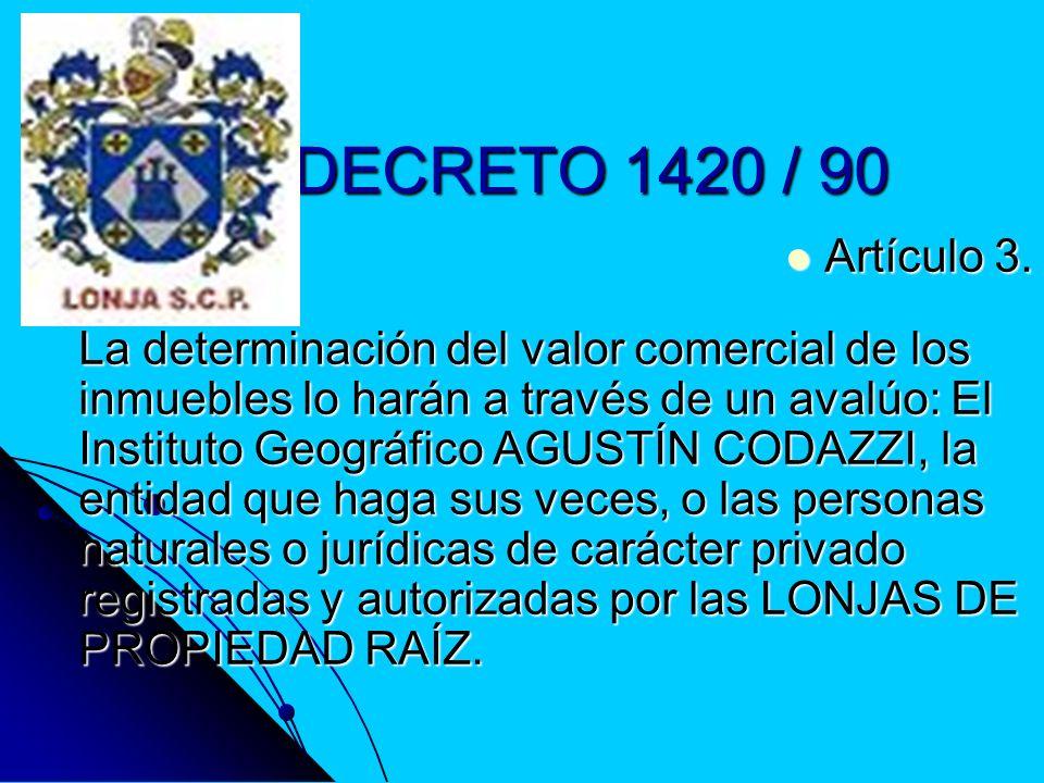 DECRETO 1420 / 90 Artículo 3.