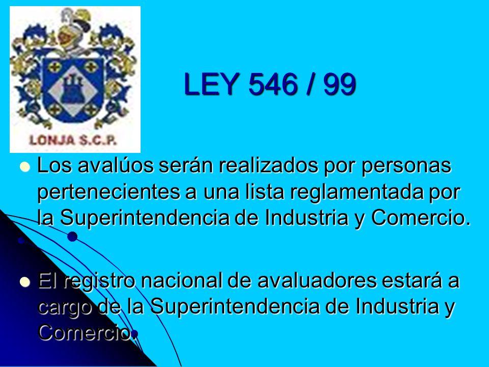 LEY 546 / 99 Los avalúos serán realizados por personas pertenecientes a una lista reglamentada por la Superintendencia de Industria y Comercio.