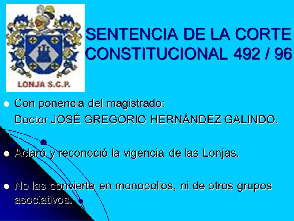 SENTENCIA DE LA CORTE CONSTITUCIONAL 492 / 96