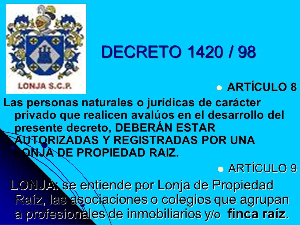 DECRETO 1420 / 98 ARTÍCULO 8.