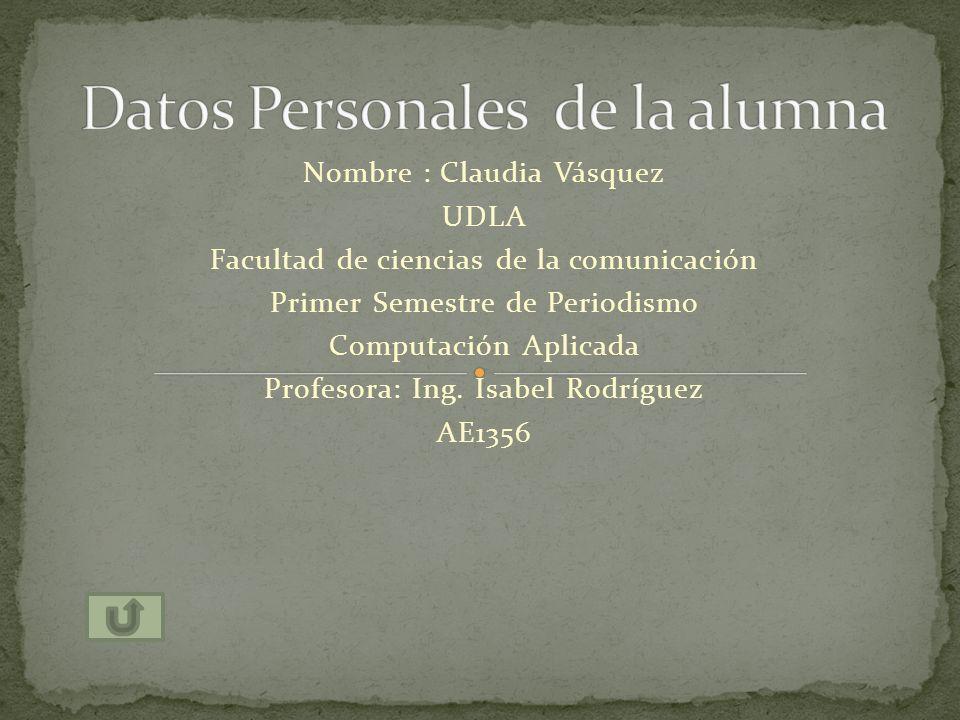 Datos Personales de la alumna