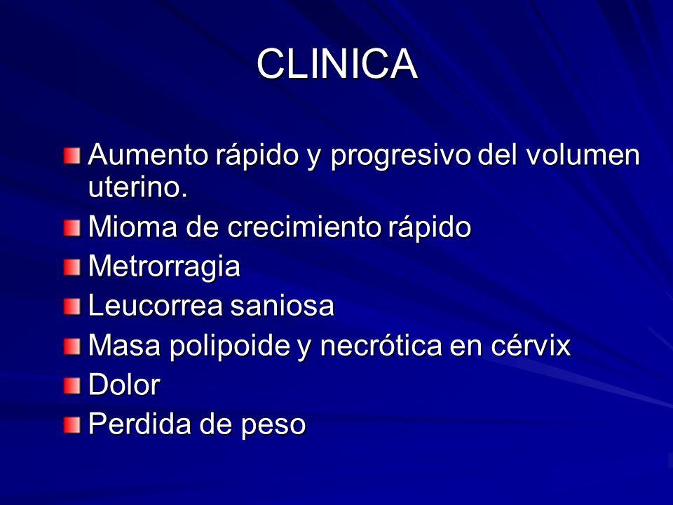 CLINICA Aumento rápido y progresivo del volumen uterino.