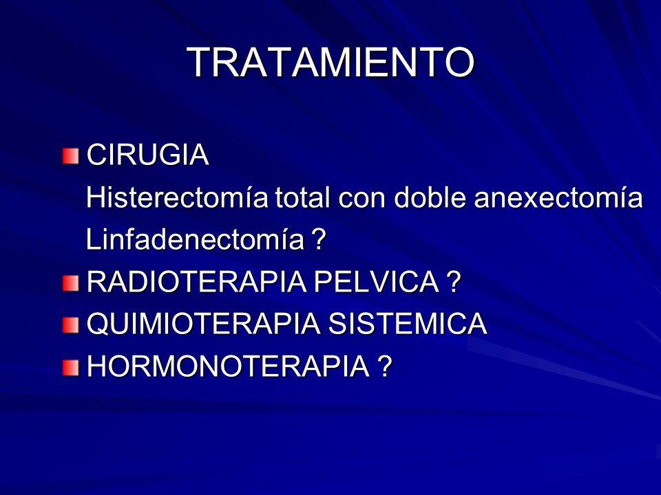 TRATAMIENTO CIRUGIA Histerectomía total con doble anexectomía
