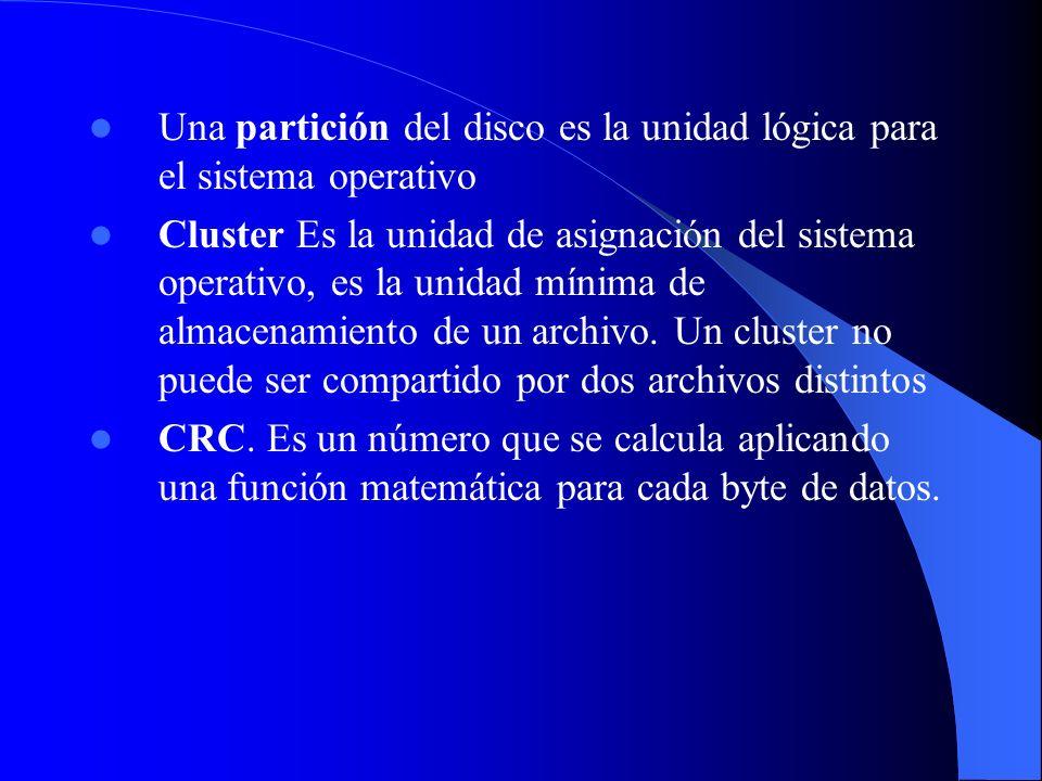 Una partición del disco es la unidad lógica para el sistema operativo