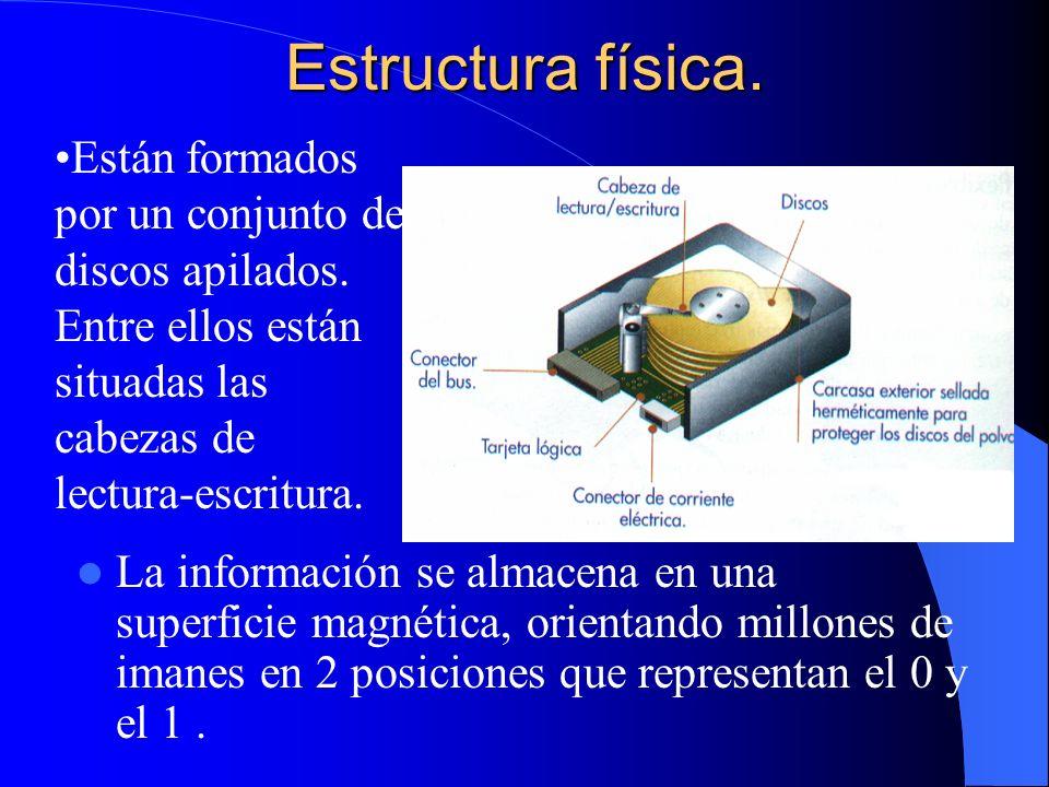 Estructura física. Están formados por un conjunto de discos apilados. Entre ellos están situadas las cabezas de lectura-escritura.