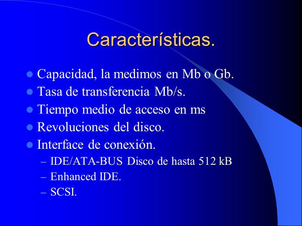 Características. Capacidad, la medimos en Mb o Gb.