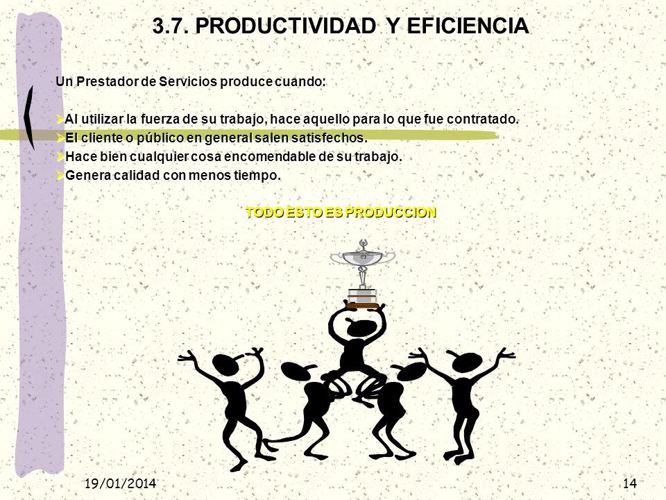 3.7. PRODUCTIVIDAD Y EFICIENCIA TODO ESTO ES PRODUCCION