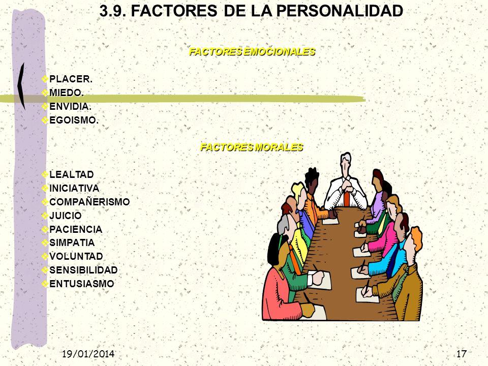 3.9. FACTORES DE LA PERSONALIDAD