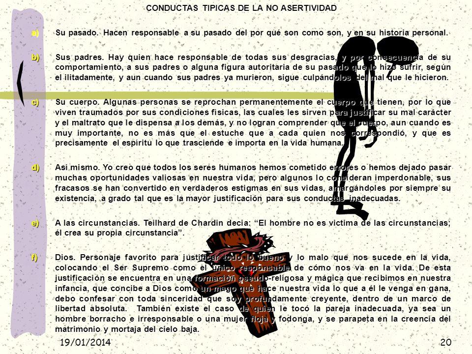 CONDUCTAS TIPICAS DE LA NO ASERTIVIDAD
