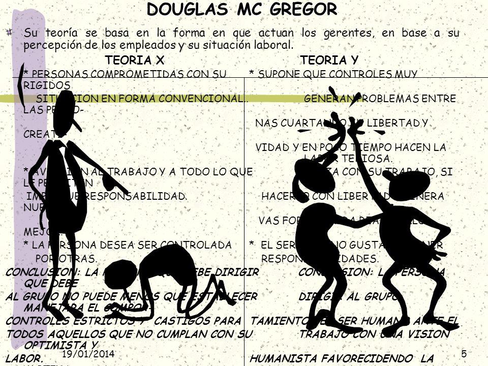 DOUGLAS MC GREGOR Su teoría se basa en la forma en que actuan los gerentes, en base a su percepción de los empleados y su situación laboral.