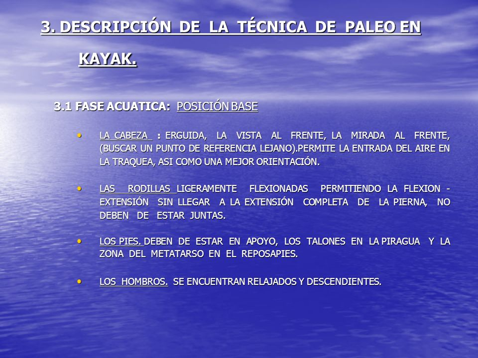3. DESCRIPCIÓN DE LA TÉCNICA DE PALEO EN KAYAK.