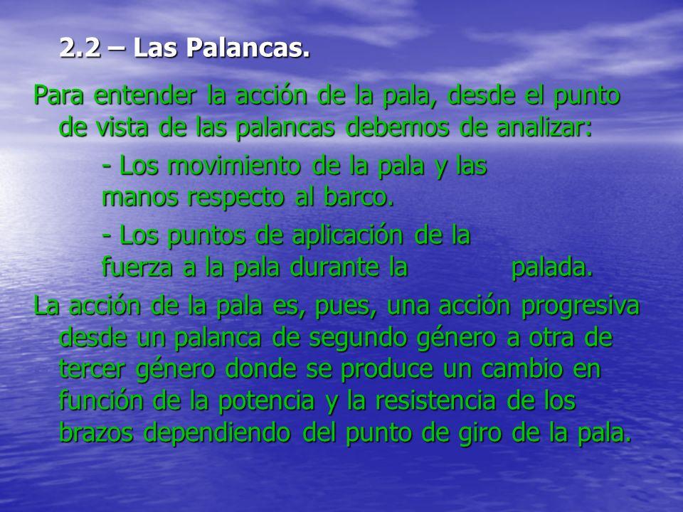 2.2 – Las Palancas. Para entender la acción de la pala, desde el punto de vista de las palancas debemos de analizar: