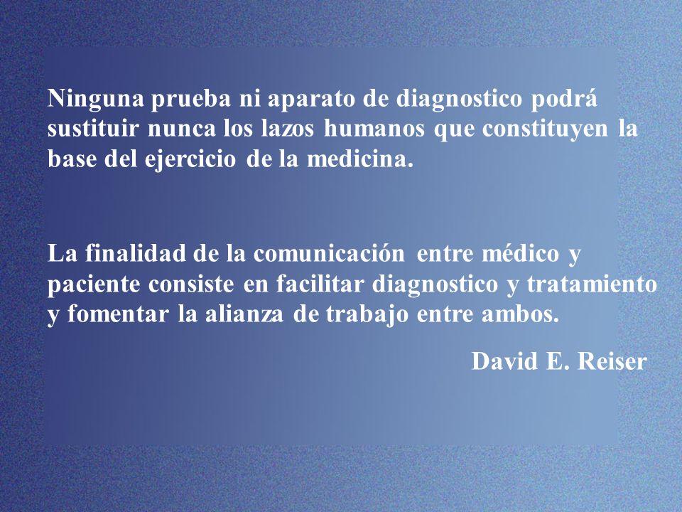 Ninguna prueba ni aparato de diagnostico podrá sustituir nunca los lazos humanos que constituyen la base del ejercicio de la medicina.