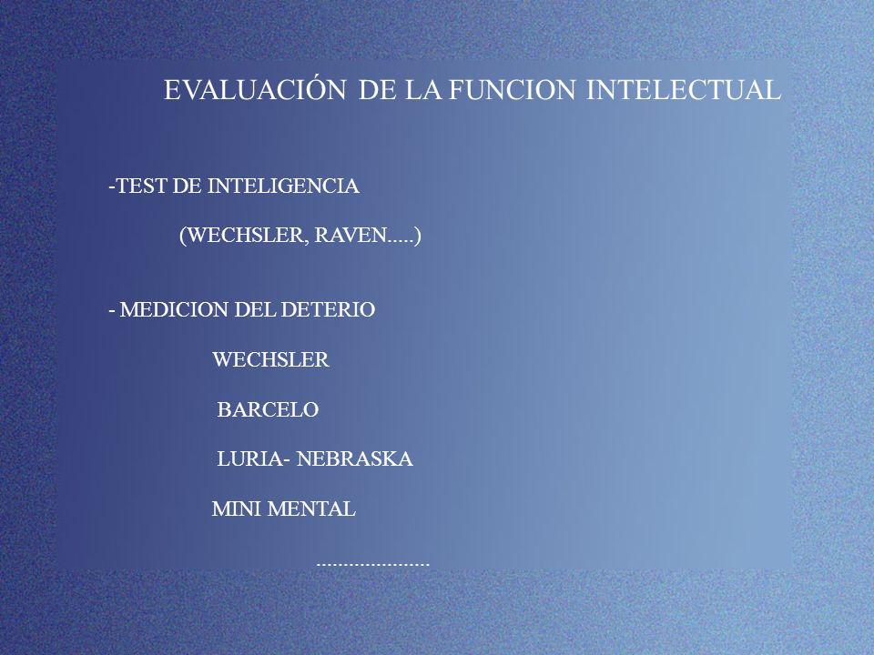 -TEST DE INTELIGENCIA EVALUACIÓN DE LA FUNCION INTELECTUAL
