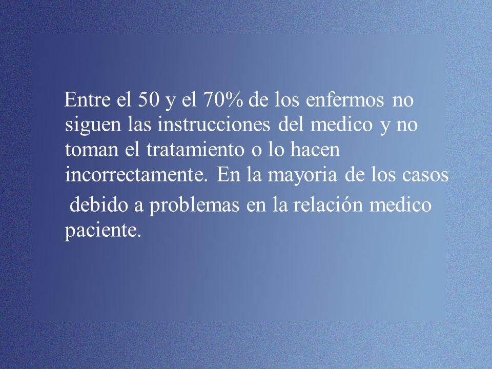 Entre el 50 y el 70% de los enfermos no siguen las instrucciones del medico y no toman el tratamiento o lo hacen incorrectamente. En la mayoria de los casos