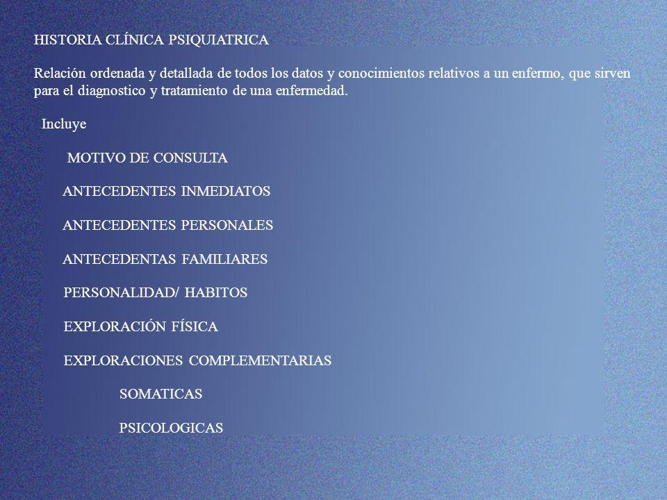 DIAGNOSTICO PSIQUIATRICO HISTORIA CLÍNICA PSIQUIATRICA Relación ordenada y detallada de todos los datos y conocimientos relativos a un enfermo, que sirven para el diagnostico y tratamiento de una enfermedad.