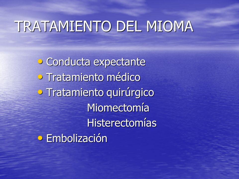 TRATAMIENTO DEL MIOMA Conducta expectante Tratamiento médico